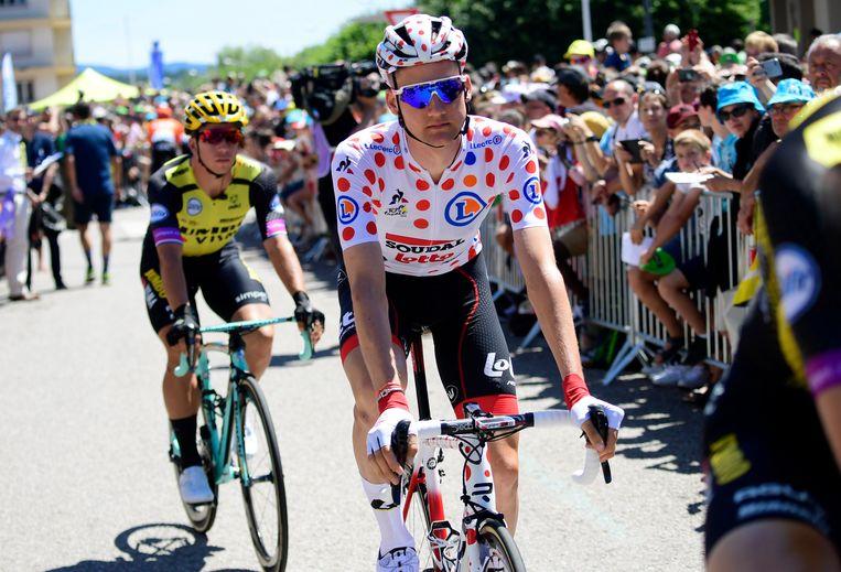 Tim Wellens voor de start van de vijfde Tour-etappe.
