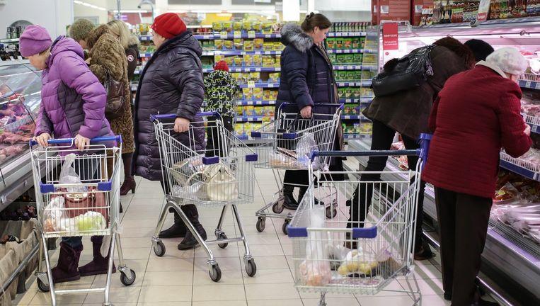 Een Russische supermarkt. Beeld -
