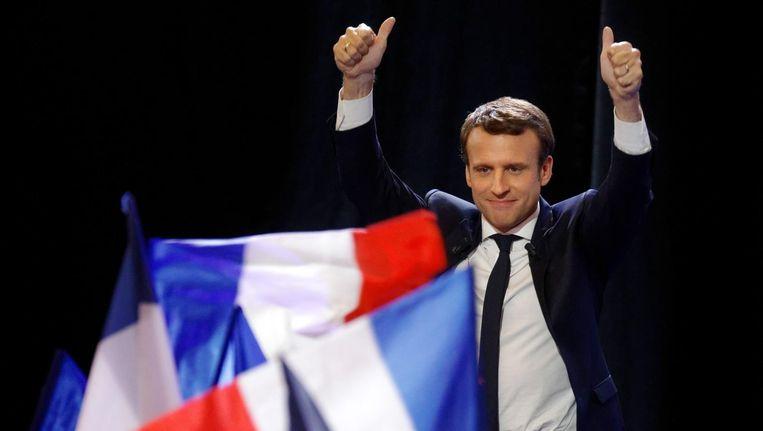Emmanuel Macron van En Marche! houdt zijn overwinningstoespraak. Beeld getty