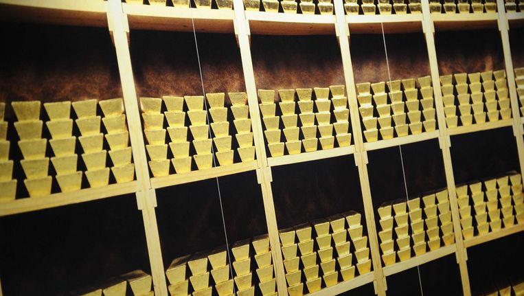 Goudstaven in de kelder van De Nederlandsche Bank in Amsterdam Beeld anp