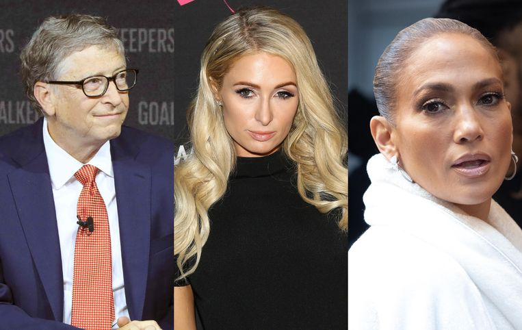 De top 3 bestaat uit Bill Gates, Paris Hilton en Jennifer Lopez.
