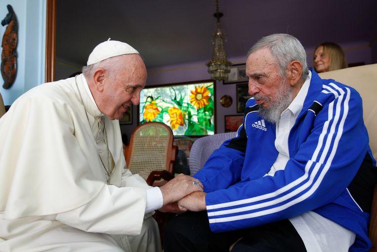 Paus Franciscus bezocht in september Fidel Castro in Havana. Beeld ap