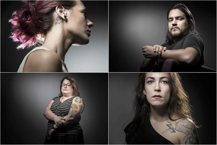 Vanaf linksboven: Ludmila Profit (24), David Fritz Goeppinger (25).  Stephanie Zarev (44), Laura Leveque (32).