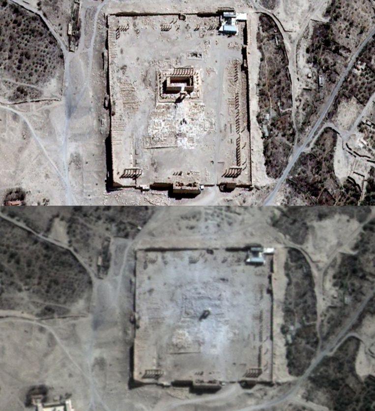 Een satellietbeeld van voor (boven) en na de bombardementen van IS. Beeld AFP