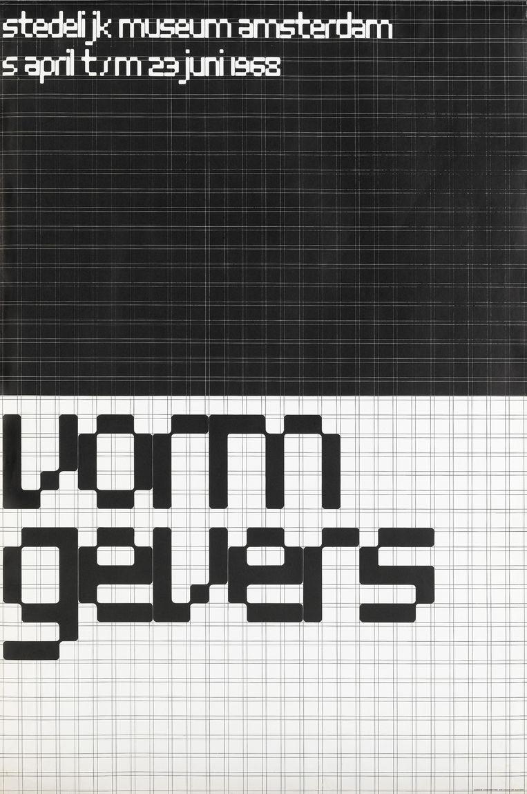 Affiche voor de tentoonstelling Vormgevers (1968). Beeld