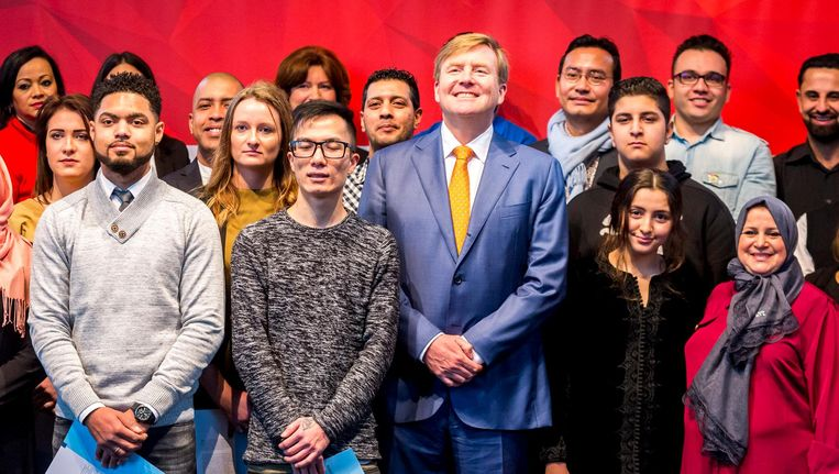 Koning Willem-Alexander op de tiende Naturalisatiedag. Beeld ANP