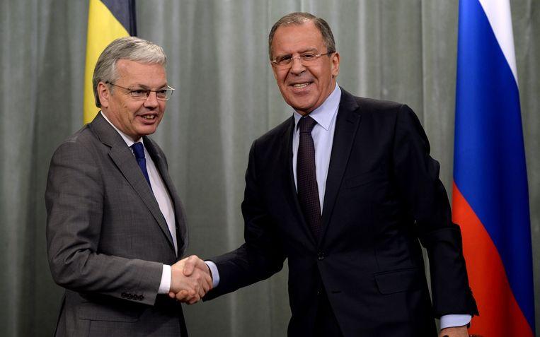 Minister van Buitenlandse Zaken, Didier Reynders met zijn Russische collega Sergey Lavrov.