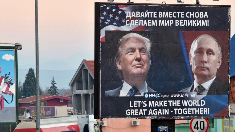 Een poster van de pro-Servische beweging in Montenegro. Beeld epa