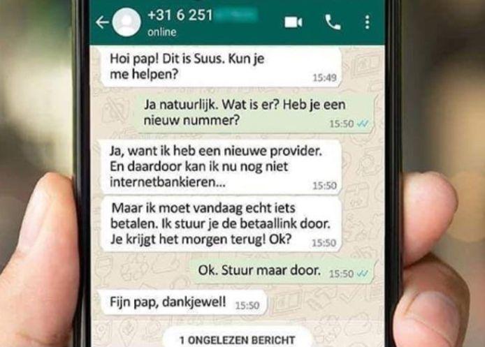 Een voorbeeld van whatsappfraude. De politie heeft de afgelopen weken 24 verdachten aangehouden uit Deventer en omstreken in een groot politie-onderzoek naar WhatsApp-fraude in Deventer.