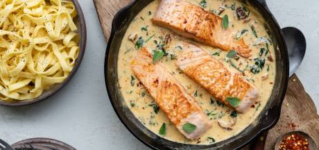 Wat Eten We Vandaag: Zalm in romige saus met tagliatelle