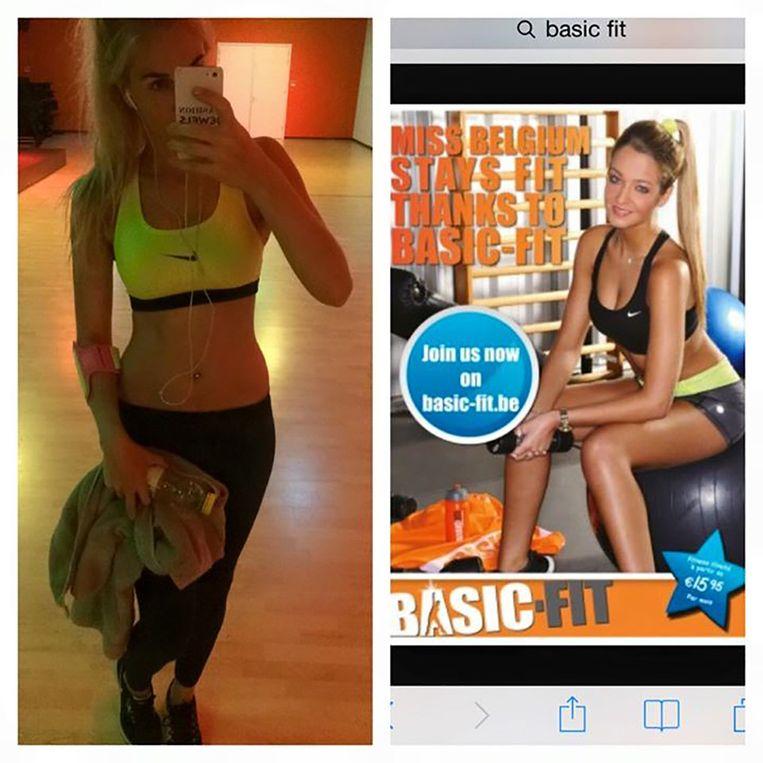 Ophef: de 'te sexy kleding' van Priscilla (links) en een reclameposter van Basic-Fit - zoek de verschillen. Beeld Facebook