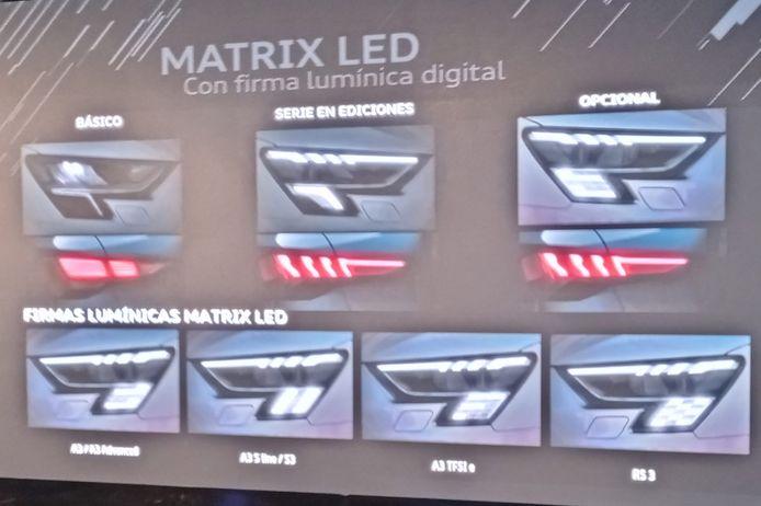 De verschillende versies van de Audi A3 krijgen allemaal andere koplamp-indelingen. Rechtsonder de finishvlag van de RS3.