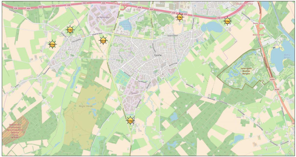 De plekken waar specialist Antea van heeft gezegd dat daar prima zonneweides kunnen komen in Goirle.