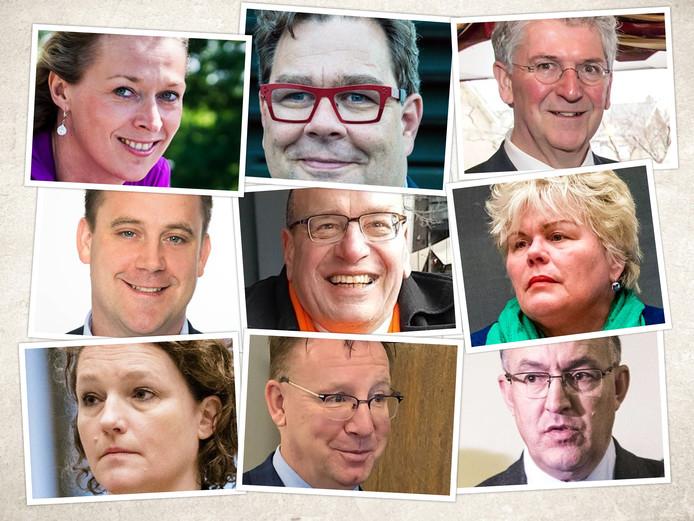 Hun naam is genoemd: (vanaf linksboven) Mariette van Leeuwen, Jan Iedema,  Edo Haan, Marc Rosier, Fred Teeven, Ineke van Gent, Renske Leijten, Patrick van Domburg en Achmed Aboutaleb.