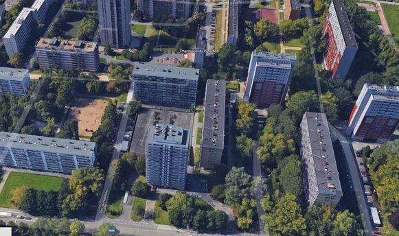De sociale flats nabij het Peterbos-park in Anderlecht.