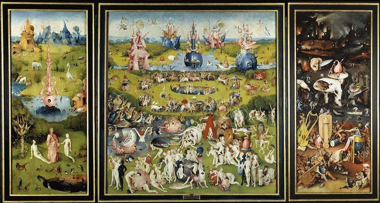 De Bossche renaissanceschilder Jheronimus Bosch schilderde het drieluik De Tuin der Lusten tussen 1490 en 1510. Het Prado in Madrid staat het werk niet af voor de expositie in Den Bosch. Beeld Collectie Museo Nacional del Prado, Madrid