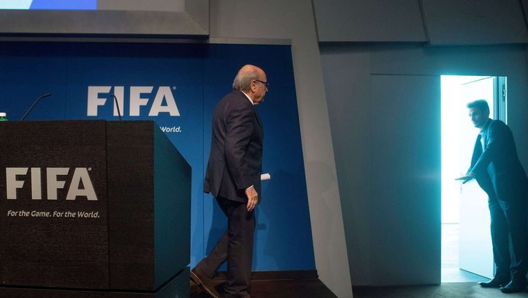 Sepp Blatter na de persconferentie Beeld anp