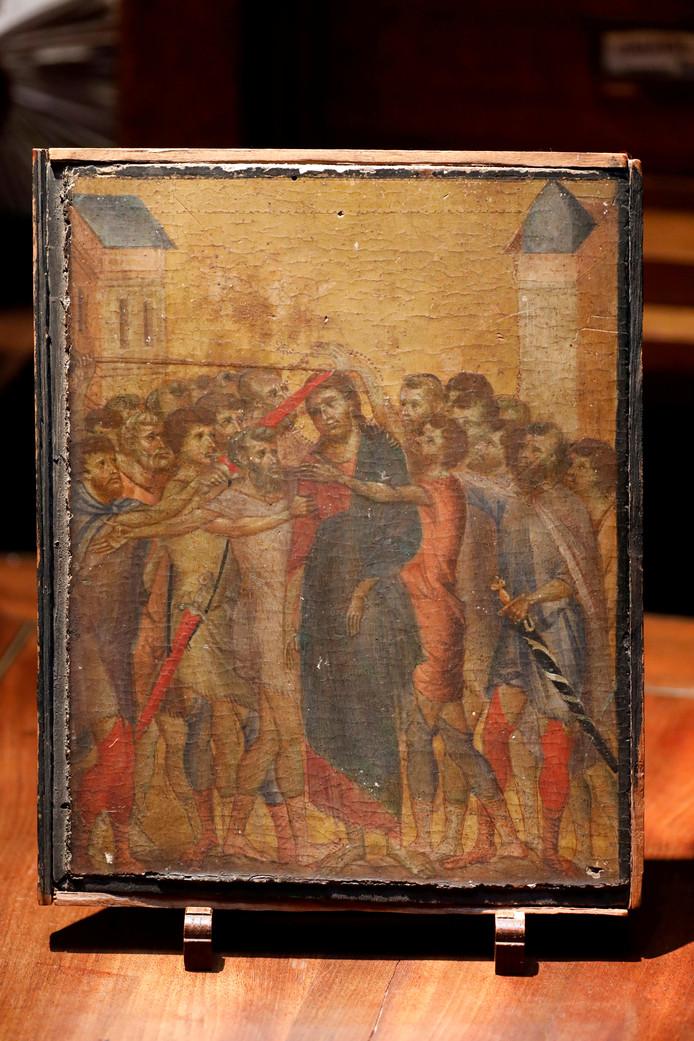 Het schilderij 'De Bespotte Christus' van Cimabue dat voor een recordbedrag van 24 miljoen euro geveild is.