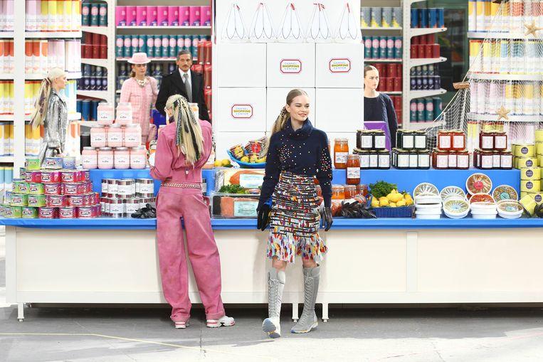 Chanel herfst-wintercollectie 2014/2015 waarvoor een heuse supermarkt werd uitgebouwd.