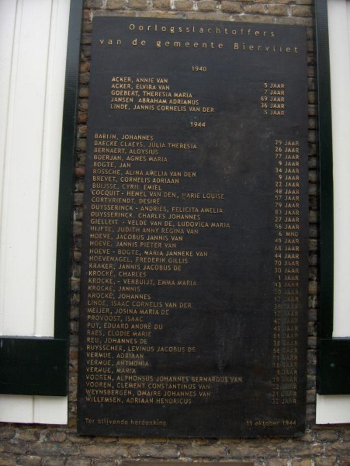 Oorlogsmonument Biervliet, hoek Maarleveldstraat-Markt, met namen van 42 oorlogsslachtoffers, van wie er 37 in 1944 zijn omgekomen.