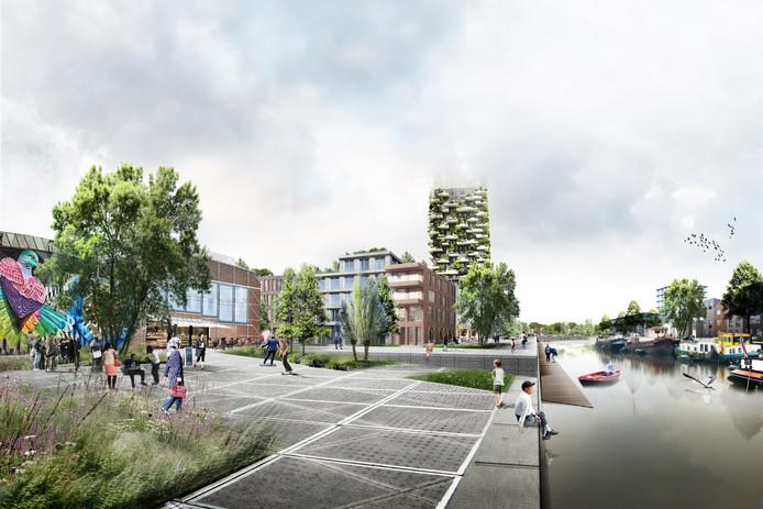 Een schets van hoe de Belcrumhaven er uit zou kunnen gaan zien in de toekomst. Direct aan het water gelegen zouden woningen daar verwarmd kunnen worden middels aquathermie.