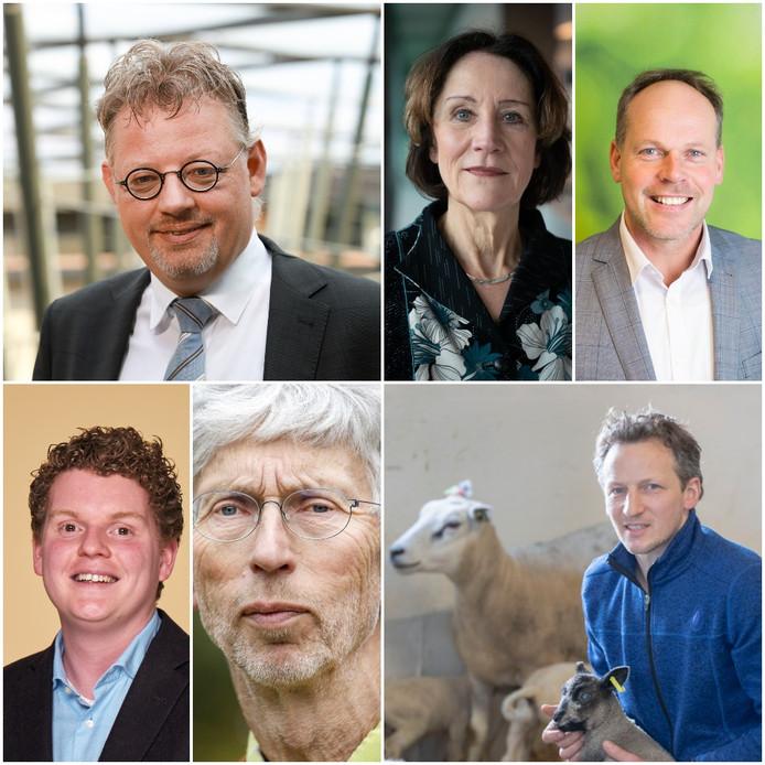Met de klok mee: Peter Drenth (gedeputeerde Gelderland), Louise Vet (hoogleraar WUR), Herman Bakhuis (bestuurder bij LTO en melkveehouder), Bart Kemp (boerenactieleider), Johan Vollenbroek (voorzitter milieuorganisatie MOB), Antoon Kanis (D66-Statenlid).