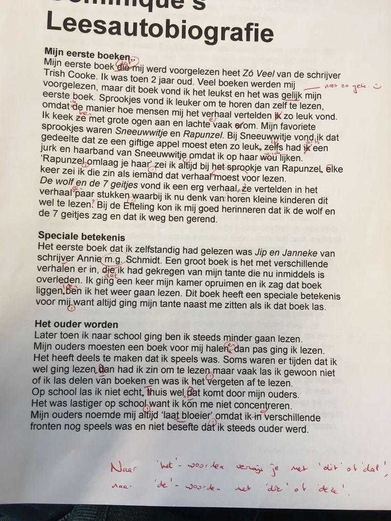 Een voorbeeld van schrijfvaardigheid uit havo 4. Beeld .