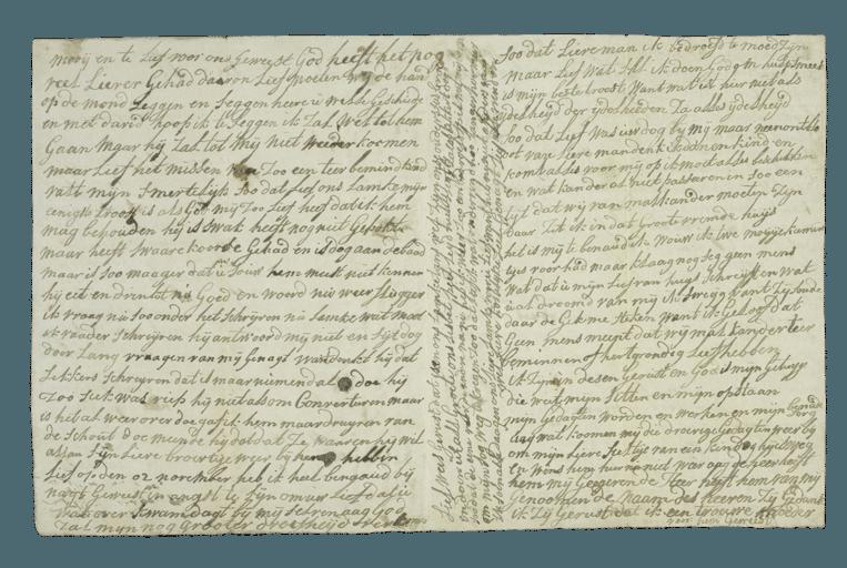 De brief van Aagje Luijtsen aan haar man Harmanus, 'nat van tranen'.  Beeld National Archives Kew