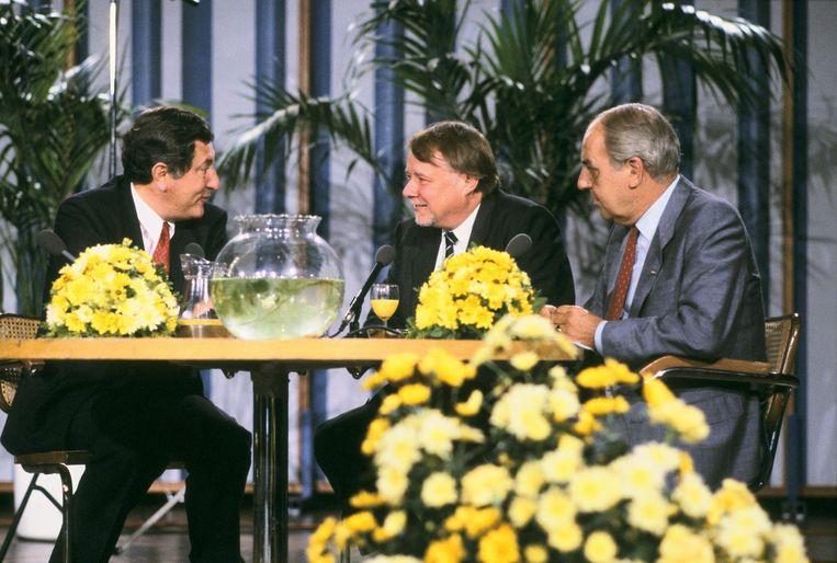 Gerard Wallis de Vries en Theo Ordeman te gast bij Willem Duys in 1985 Beeld anp