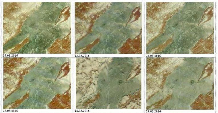 Deze achtereenvolgende beelden tonen hoe een cirkel op het ijs ontstaat.