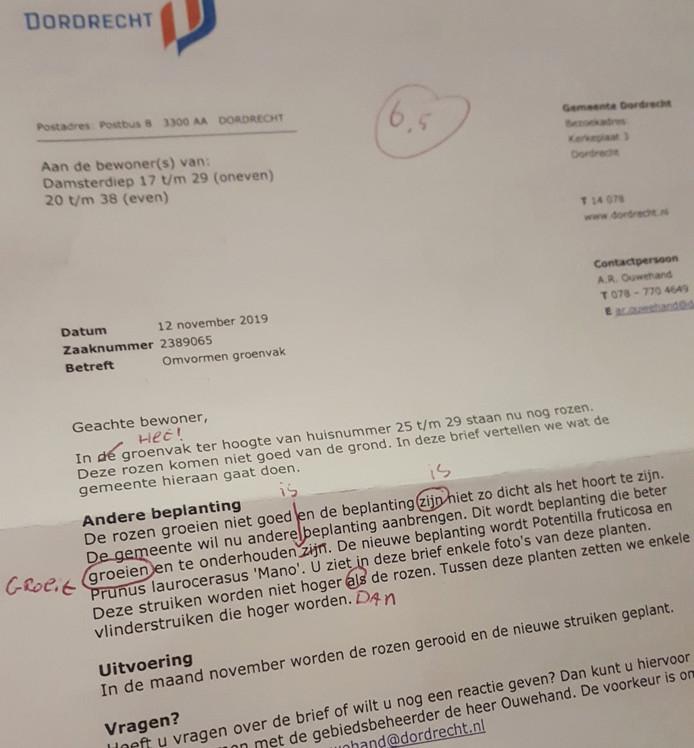 De brief van de gemeente staat vol van de spelfouten, merkte Gert-Jan Stehouwer op.