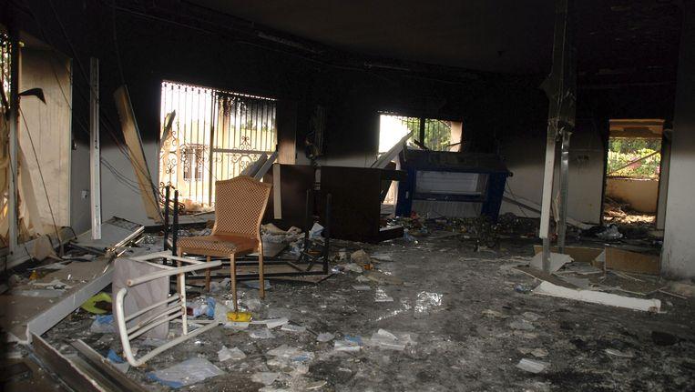 Het Amerikaanse consulaat in Benghazi na de aanslag Beeld ap