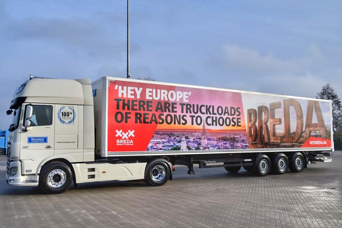 De 'Bredatruck' van Nouwens Transport.