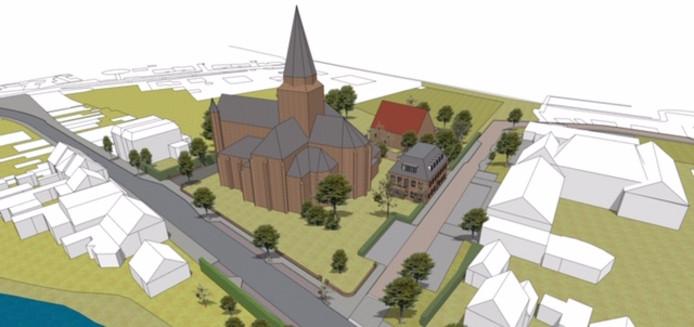 Artist impression van kerk en pastoriewoning Stampersgat