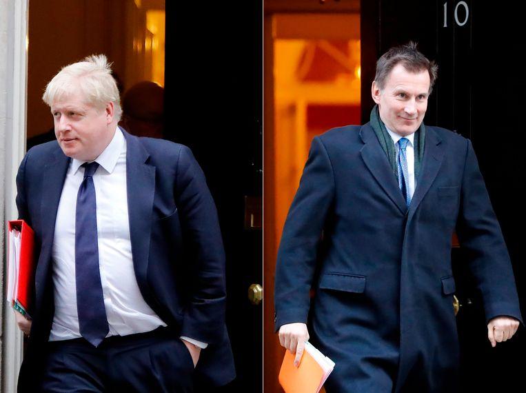 Boris Johnson (links) en zijn rivaal Jeremy Hunt, de huidige minister van Buitenlandse Zaken.