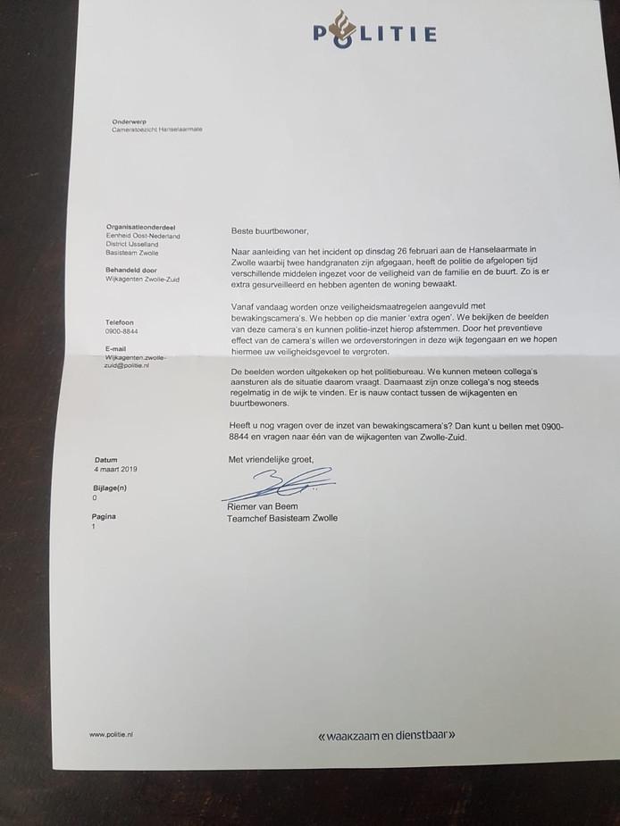 De bewuste brief die de politie bezorgde bij buurtbewoners rond het huis van de familie Kooistra.