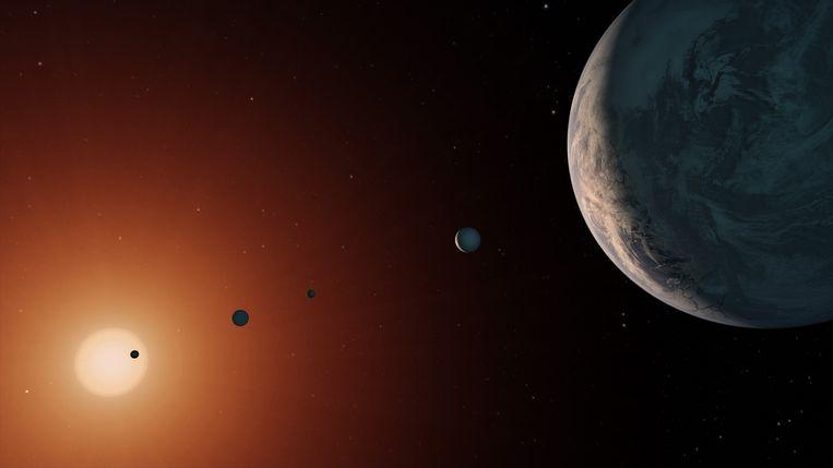 NASA-impressie van de ultrakoele ster Trappist-1, waar zeven exoplaneten omheen draaien. Beeld NASA