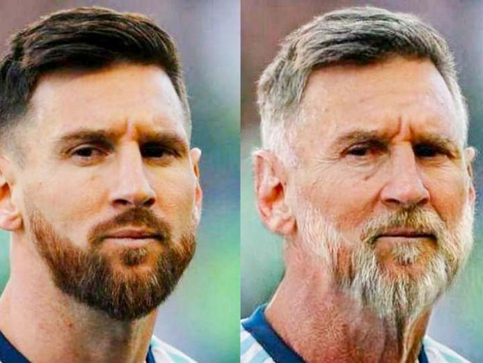 Zo ziet Messi er met de Face App uit.
