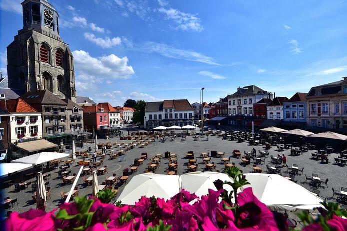 De proefopstelling op de Grote Markt in Bergen op Zoom.