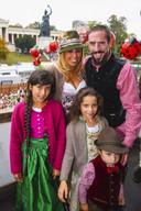 Franck Ribery met zijn vrouw Wahiba en kinderen Salif, Shahinez en Hizya.