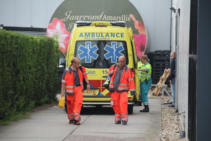 Een werknemer van een amarylliskwekerij aan de Madeweg in Monster is vanochtend gewond geraakt bij een bedrijfsongeval.