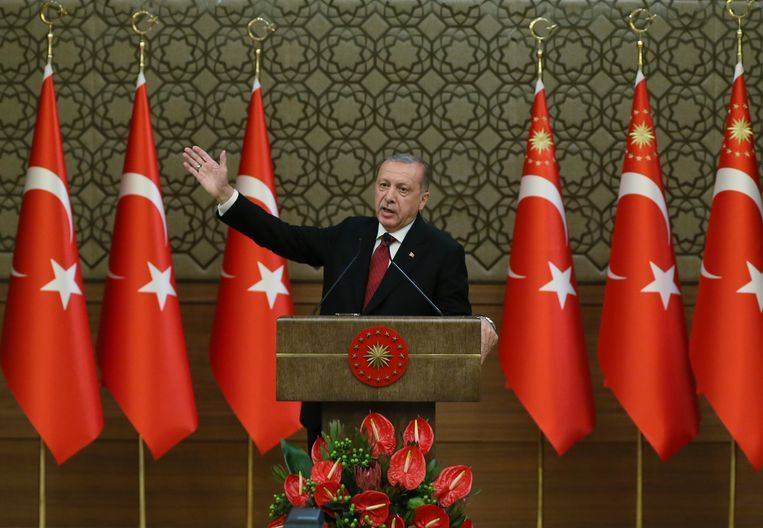 Turkije's president Recep Tayyip Erdogan tijdens een persconferentie op 9 juli jongstleden. Beeld AP