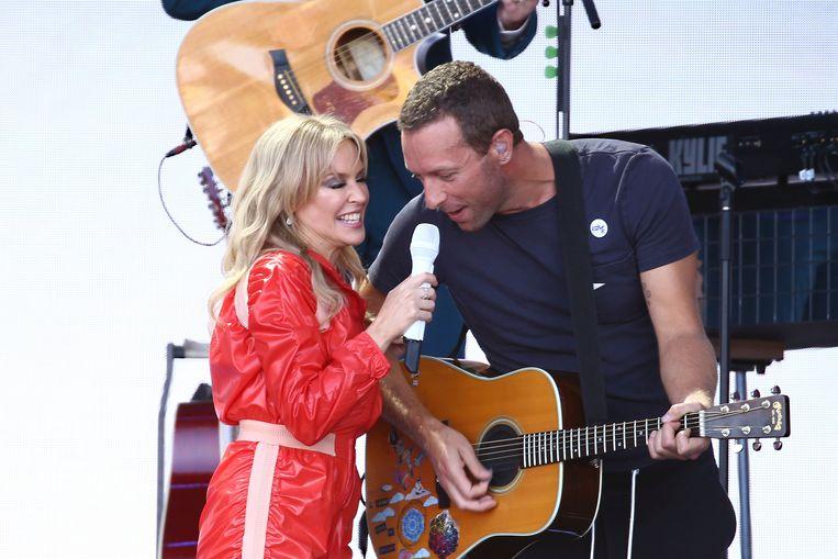 Chris Martin trad dit weekend op met Kylie Minogue op Glastonbury.