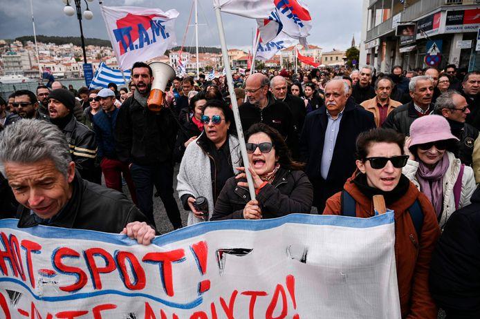 Protesten op Lesbos vandaag.
