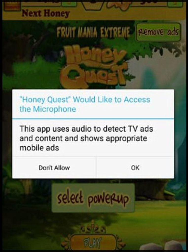 Honderden games uit de Google Play Store nemen de tv-gewoontes van de gebruiker op, ook bij games voor kinderen zoals 'Honey Quest'.