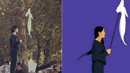 Vrouw die moedig hoofddoek aflegt uitgegroeid tot symbool van verzet in Iran