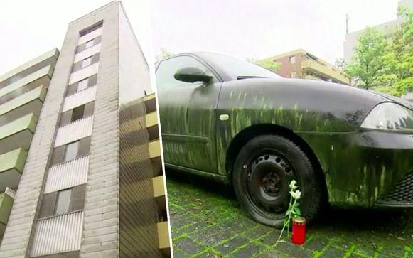 Zijn auto, groen uitgeslagen en met platte banden, stond al die tijd beneden op de parking.