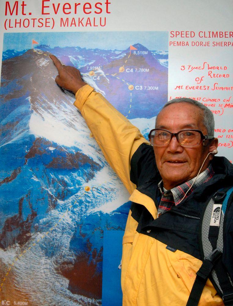 Min Bahadur Sherchan voltooide de klim in 2008 op 76-jarige leeftijd.