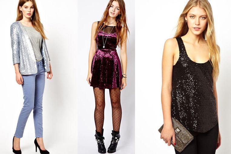 Feestelijke blazer, transparante panty's en fluwelen jurk en schitterende clutch bij Asos.com.