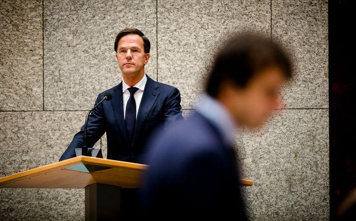 Premier Mark Rutte en Jesse Klaver (Groenlinks) tijdens het debat